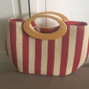 Red and tan purse.
